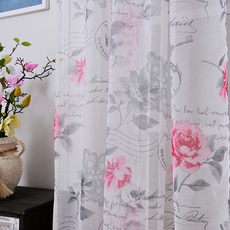 Fabric sheer tulle curtains for bedroom flowers priority for Fabrics for children s rooms