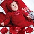 Muchachas de Los bebés de Punto Suéteres O-cuello de Manga Larga Jersey de Punto suéter de Abrigo Tops Niños Ropa de Navidad los niños
