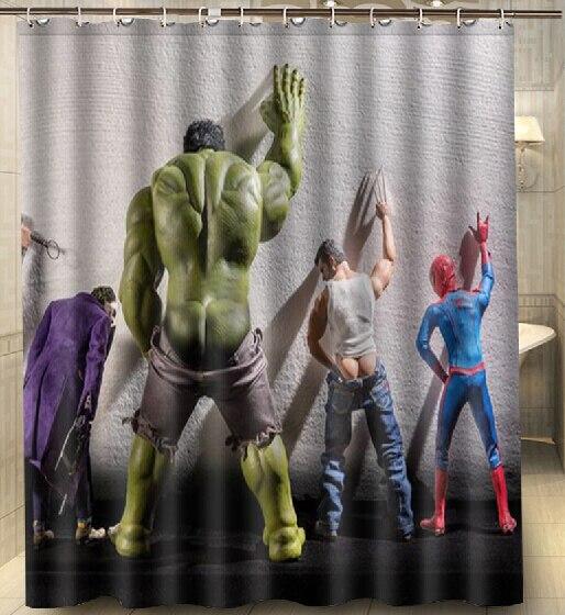Custom Hulk Thor Joker Spider Man Fashion Shower Curtain 160x180cm Waterproof Mouldproof Shower
