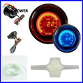 52mm 2inch EVO LCD Red/Blue Boost Turbo Gauge Smoke Lens With Sensor 35psi/AUTO GAUGE
