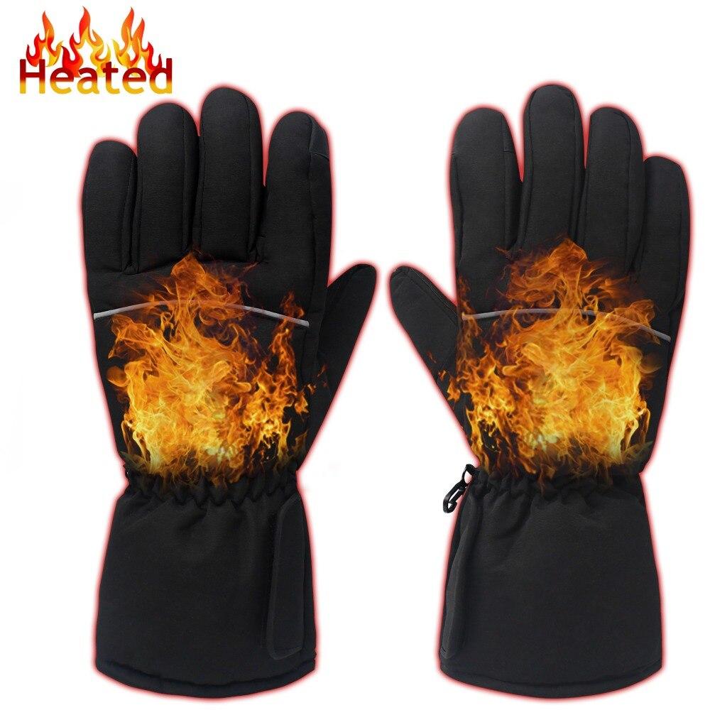 af4e41412554b Gants chauds d'hiver noir GlobalV. 3.7 V batterie Rechargeable gants  chauffants pour hommes femmes cyclisme randonnée activités de plein air  dans Ski Gants ...