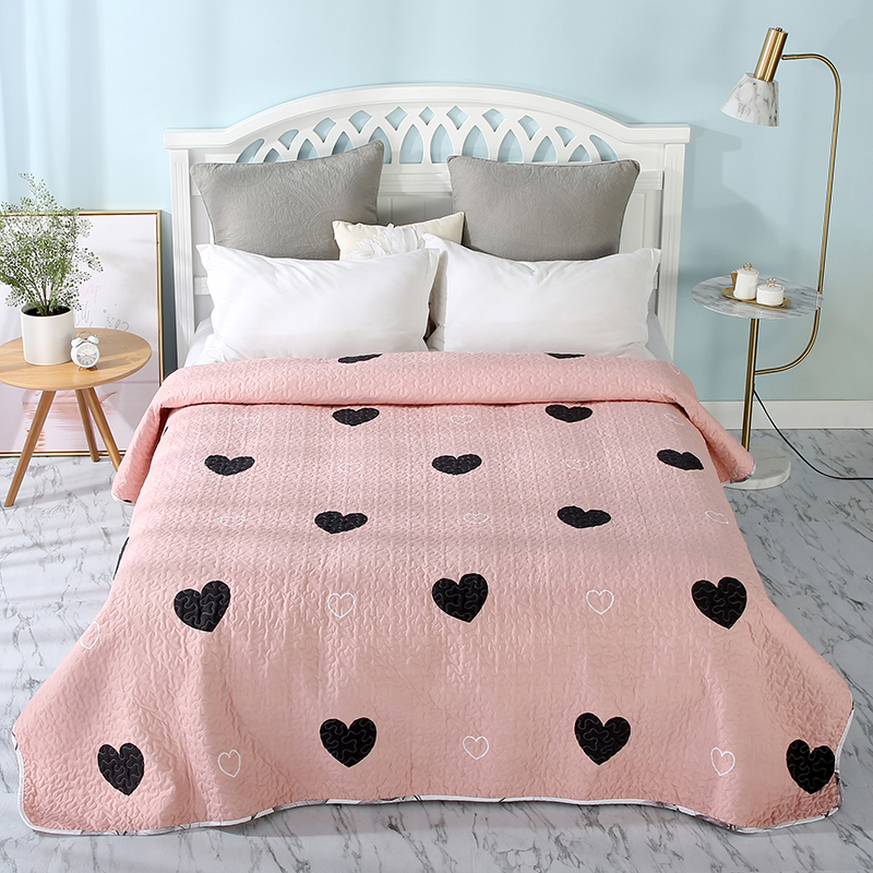 Summer Pink Cotton/Polyester Quilt 1 Piece Twin Size Student Quilts Sofa Blanket Bedspread Bed Cover Sheet Bedding Coverlets #sw
