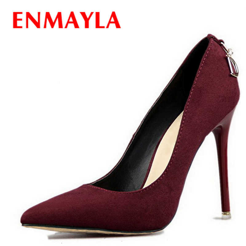 ENMAYLA Stiletto Heels Shoes Woman Plus Size  46 2017 Fashion High Heels Women Pumps Classic White Red Beige Sexy Wedding Shoes
