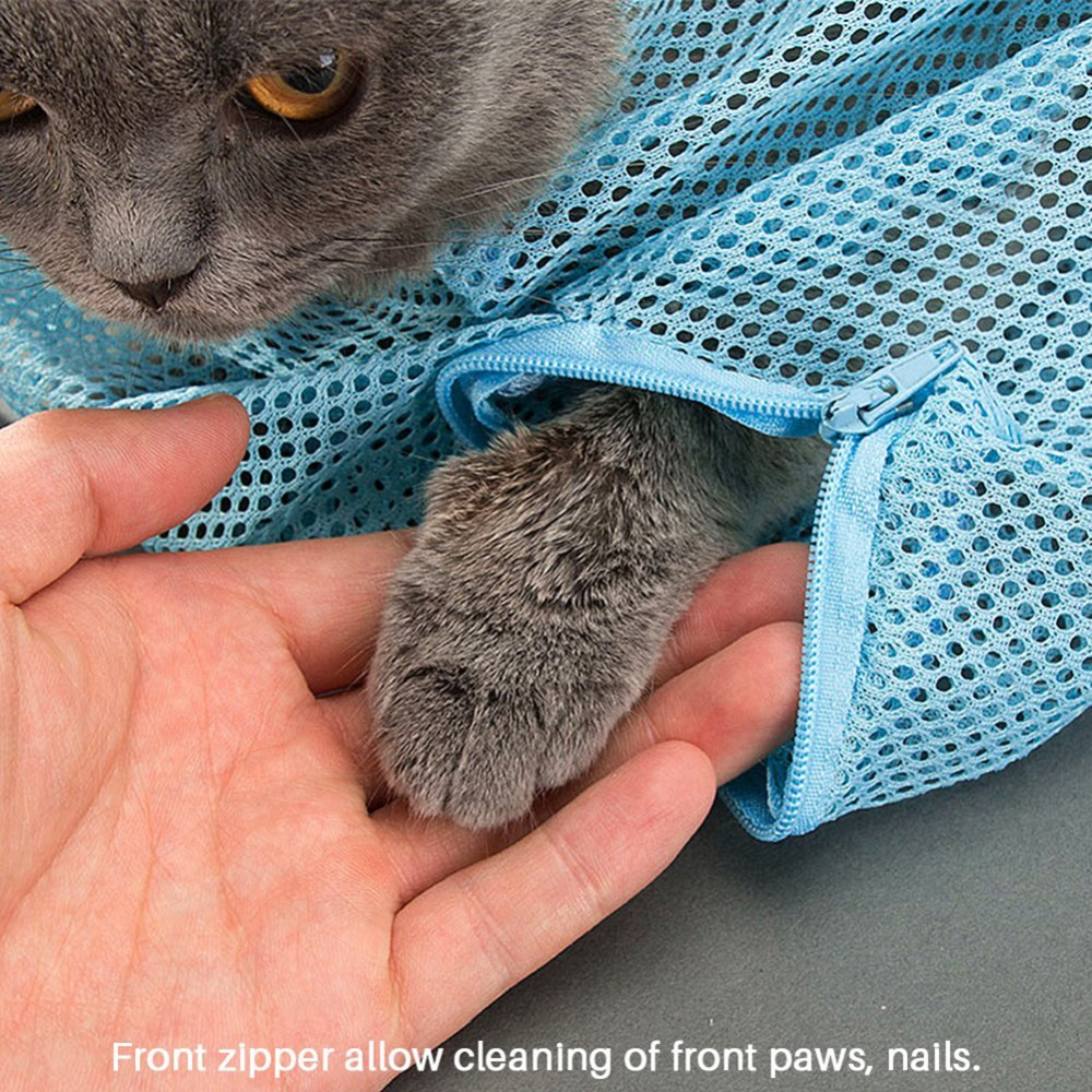Mesh Cat Pet Grooming Bath Bag Cats Cleaning Adjustable Washing Bags Nail Cutting Trimming Injecting Anti Scratch Bite Restraint in Cat Grooming from Home Garden