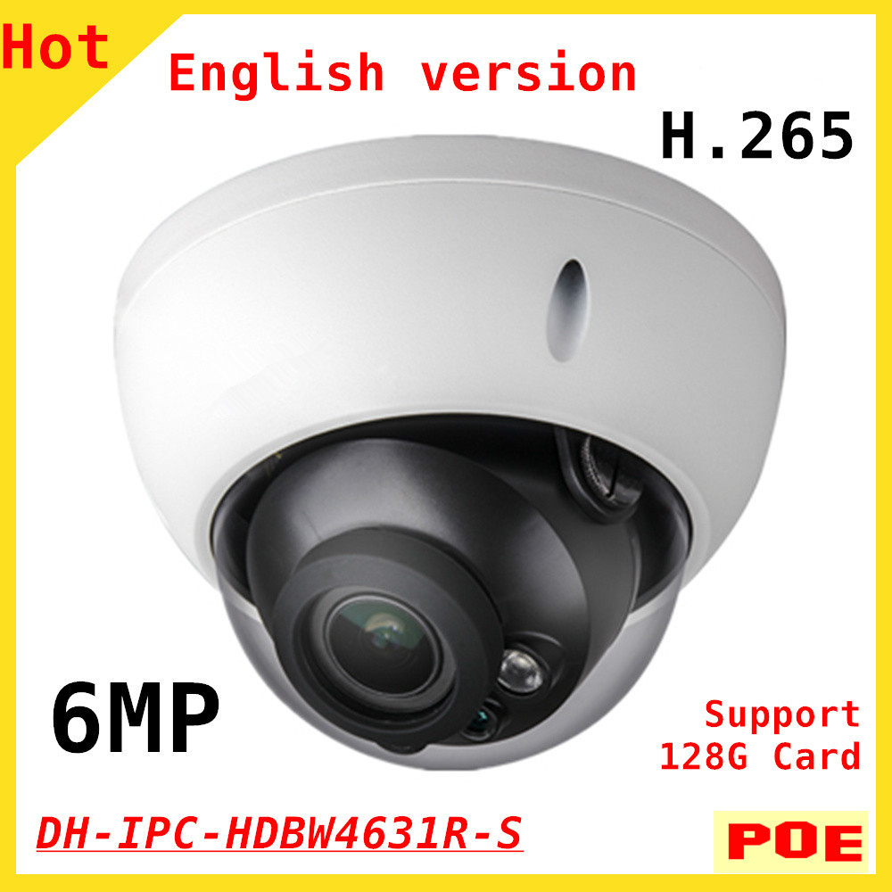 English 6MP DH H.265 IPC-HDBW4631R-S IP Camera IR 30M Support POE SD Card network camera Dome Camera dahua h 265 ip camera ipc hdbw4631r s replace ipc hdbw4431r s 6mp poe cctv camera 30m ir 1080p network camera onvif sd card slot