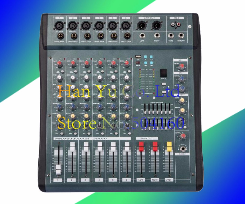 Audio Mixer 6 Channel Powered Mixing Console Dj Mezcladora De Mikser Mischer Mx606 Usb In Microphones From Consumer Electronics On