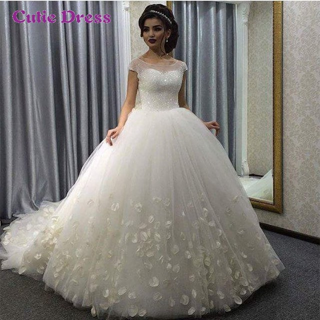 Luxurious Wedding Dress 2016 Scoop Sparkly Beading Top Ball Gown Gowns Hochzeitskleid Princess Flower Bride