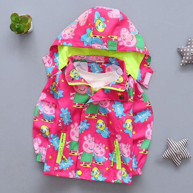 Весна детская одежда мальчик девочка розовая свинья С Капюшоном куртки ветровка детская одежда пальто девушки костюм с длинным рукавом с капюшоном