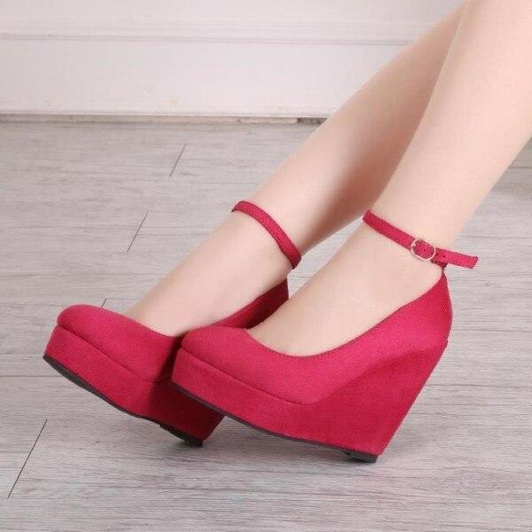Red Closed Toe Wedges Suede Platform