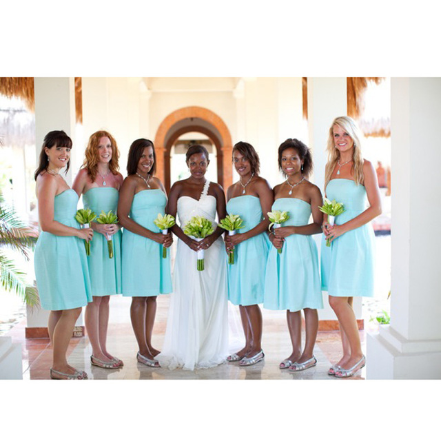 African Light Blue Nigerian Wedding Ceremony Dress 2017 New Maid of Honor  Wedding Party Dress Chiffon Short Bridesmaid Dresses 5139cc056f55