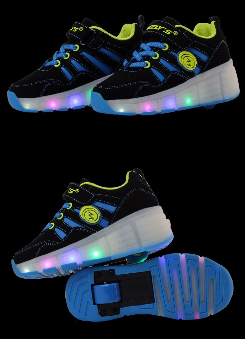 High Quality Cheap Boys LED Sneakers With Wheels Kids Light Up Shoes Girls Roller Skates tenis de rodinha11