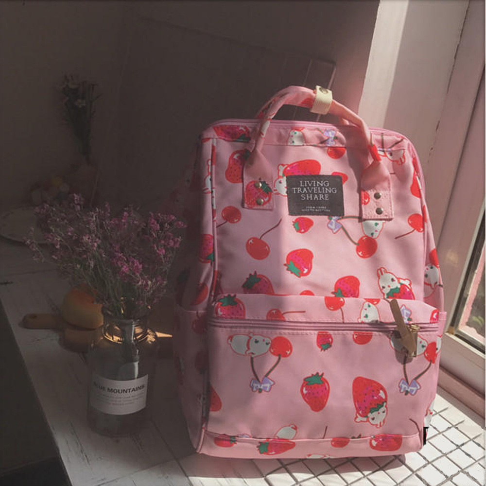 Japanese Style Harajuku Backpack Girl Cute Cartoon Style Ulzzabg Backpack Kawaii Strawberry Rabbit Leisure Backpack School Bag