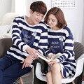 2016 Autumn Couple Homewear Sets Men/Women Sleep&Loung 100% Cotton Sleepwear Stripe Casual lovers Cotton Nightgown Home Clothing