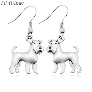 Antique Silver Color Boho Airedale Terrier&Schnauzer Dog Charm Drop Dangle Hook Earrings Big Long Unique Earrings For Women(China)
