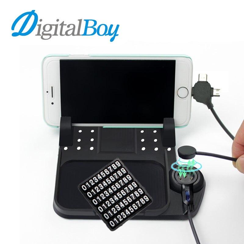 Digitalboy Многофункциональный магнитный Charge силиконовый Коврики резиновые для автомобиля навигационная мобильного телефона Pad USB Зарядное Уст…