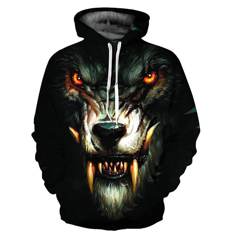 Headbook New Fashion Hoodies Women/Men 3d Sweatshirts Print Ferocious Fangs Wolf Hooded Hoodies Thin Hoody Pullovers YXQL232