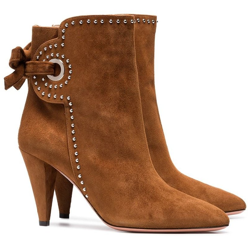 Fashion High-heeled Boots Female Thick Heel Women's Boots Winter high-heeled Ankle Fringed Boots Women Pumps Bottes Leather Boot