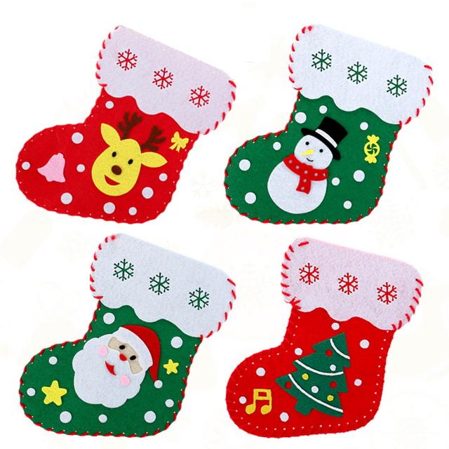 hotsale christmas socks decorations kindergarten craft diy making materials toys christmas gift bags childrens toys