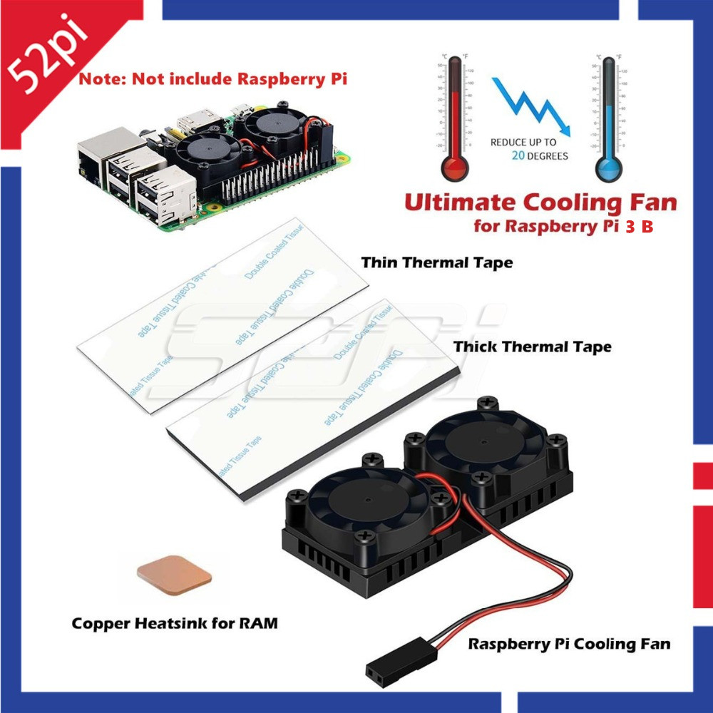 52Pi Version 2.0 Dual Fan Heatsink with Double Cooling Fans Reduce up to 20 Degrees For Raspberry Pi 3 / 2 / NESPi Case