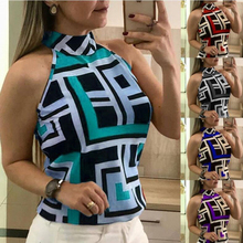 T-shirt Women Plus Size Sleeveless Sexy Shirt Turn-down Collar Printed Ladies Vintage Summer Tops Aesthetic Clothes