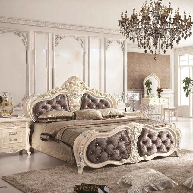 French Leather Prince Bed Junior Carved Wood New Princess Soft Bedroom Furniture