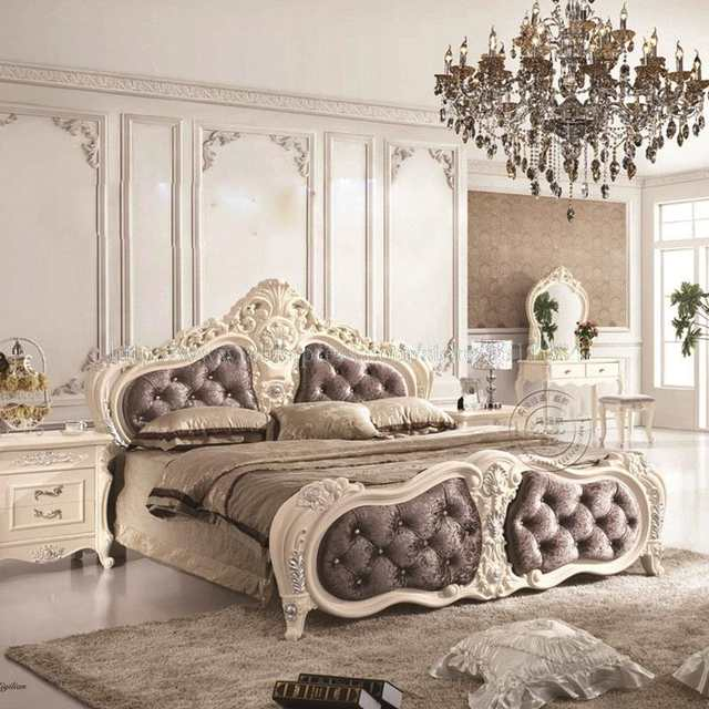 Online Shop French Leather Prince Bed Junior carved wood Bed new ...
