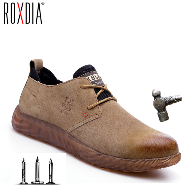 ROXDIA marka domuz cilt çelik burun koruyucu erkek kadın güvenlik botları artı boyutu 37-45 bahar sonbahar rahat hafif iş ayakkabısı RXM121