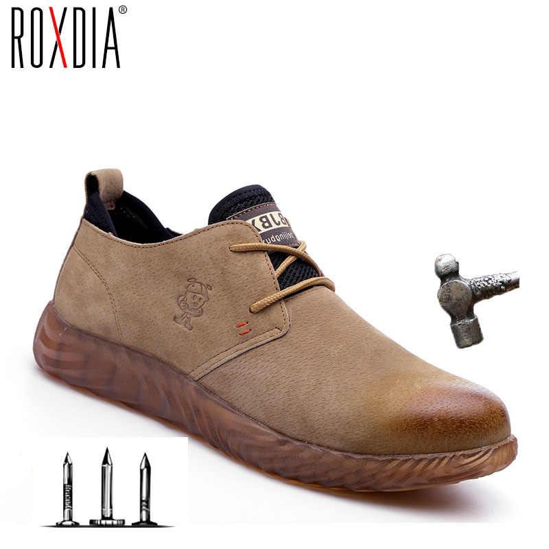 ROXDIAยี่ห้อผิวหมูเหล็กtoecapผู้ชายผู้หญิงความปลอดภัยพลัสขนาด 37-45 ฤดูใบไม้ผลิฤดูใบไม้ร่วงCasualน้ำหนักเบาทำงานรองเท้าRXM121