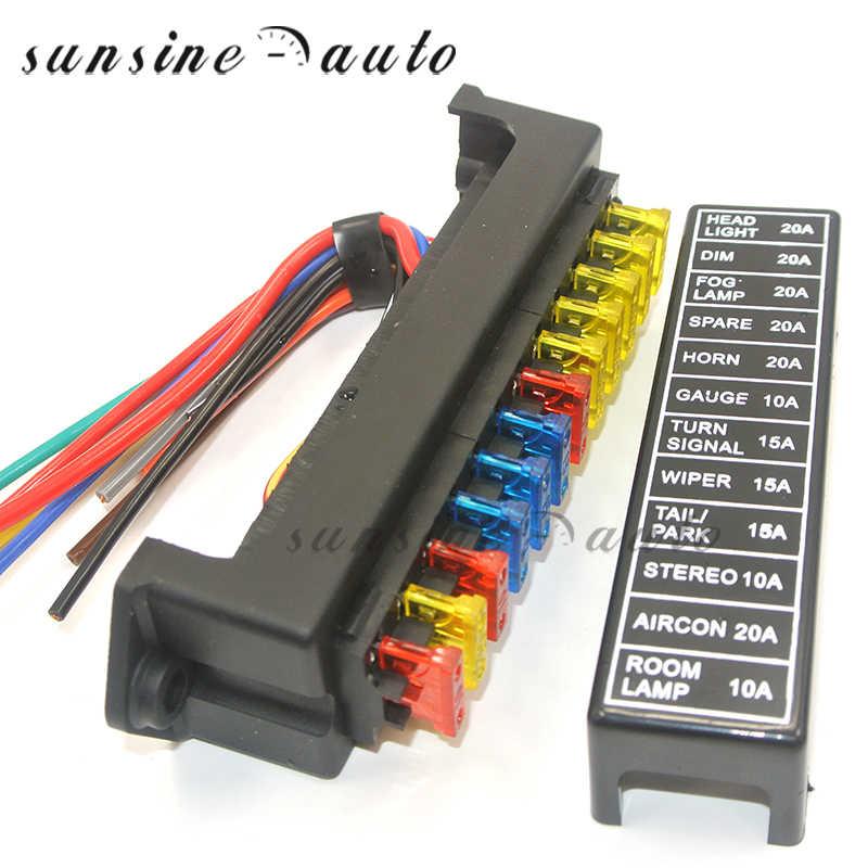 Juego de 12 V/ías Portafusibles Box 12 V/ías Bloque de fusibles con pantalla LED para DC Negative ATC ATO caja de seguridad