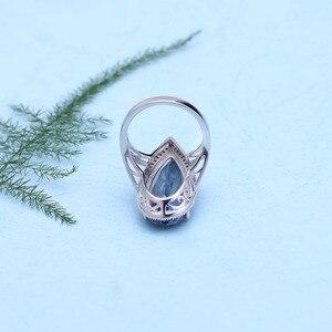 Image 4 - GEMS BALLET, nouveau anneau argent Sterling 925, nouveau, 11,48 ct, Quartz mystique, bleu, Iolite, grand anneau de mariage, goutte deau