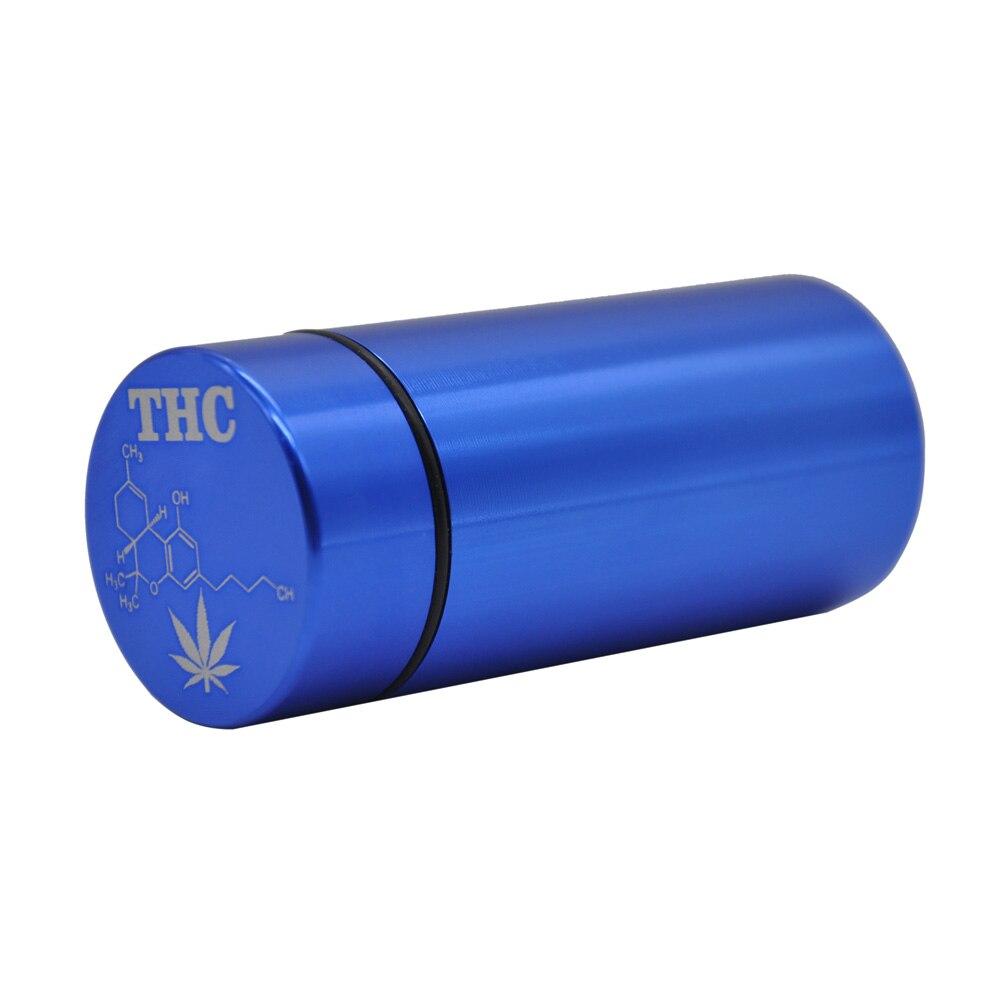 Тайник jar-герметичная запах доказательство Алюминий травы контейнер травы Шлифовальные станки курительная трубка Pill Box, отправить сигары держатель+ Стекло советы для - Цвет: Blue-THC