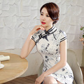 New Fashion Chinese Women Vintage Mandarin Collar Qipao Rayon Silk Mini Style Cheongsam Size S M L XL XXL 20165415