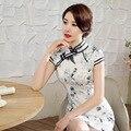 Nova moda mulheres gola mandarim Qipao de seda Rayon Mini estilo chinês Cheongsam tamanho sml XL XXL 20165415