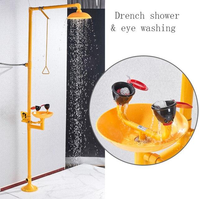 جهاز غسل العين المركب من الفولاذ المقاوم للصدأ 304 Dfrkjhre جهاز غسل عمودي للعين للاستحمام في حالات الطوارئ