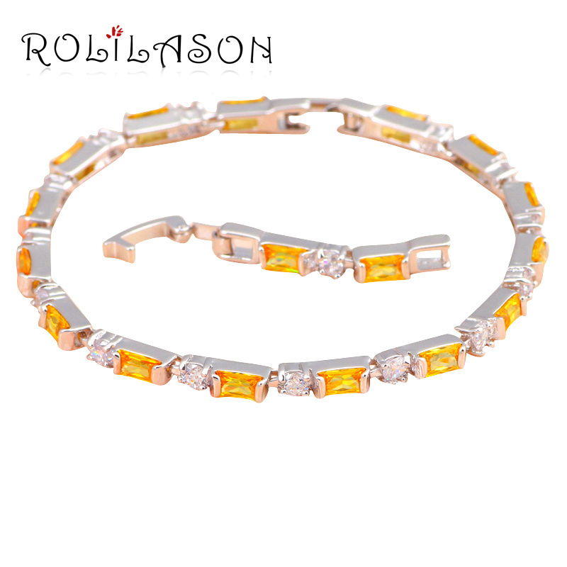 Glitterling fashion jewelry for Dinner & Party Silver plated Yellow Crystal & AAA Zirconia Top Quality Charm Bracelets TBS784