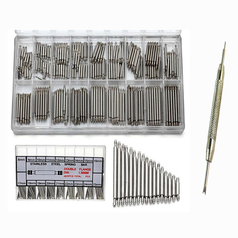 360Pcs 8mm - 25mm Stainless Steel Watch Link Pins Tool Kit And Dismantle Watchband Tool Ear Batches Both Head Watches For Parts