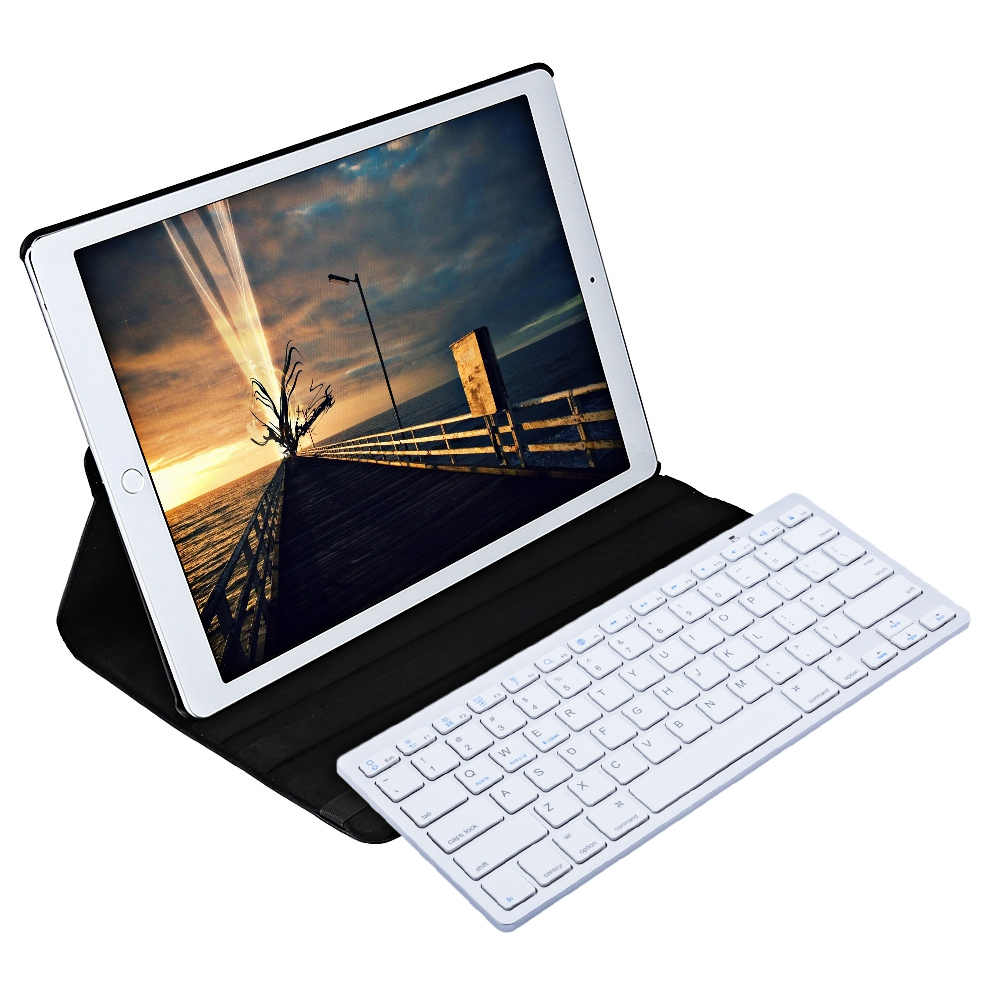 For iPad Pro 12.9 Inch Smart Case Cover 360 Degree Rotating Wireless Bluetooth Keyboard Stylus Pen PU Leather Protective Case