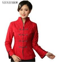 Новинка, красная женская льняная хлопковая куртка, китайский традиционный костюм танга, воротник-стойка, пальто с длинными рукавами, Размеры S M L XL XXL XXXL T019
