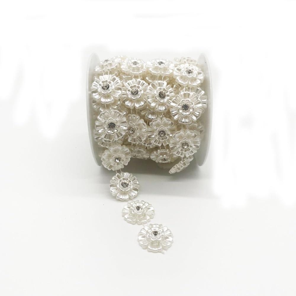 SINUAN jednoredni lanac od nogu od stakla, biser ABS biser bijela - Umjetnost, obrt i šivanje - Foto 2