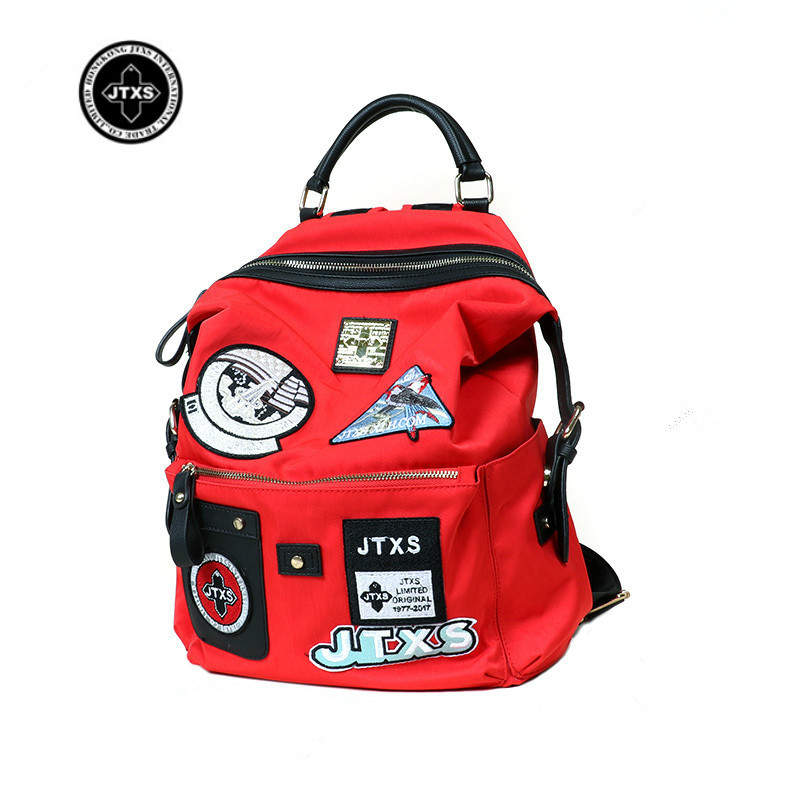 JTXS Casual Canvas School Backpack Women Lovely Badges Printed Red Backpack Teenager Large Capacity Ladies School Bag 2017 New casual canvas women backpack simple cover large capacity travelling bag khaki blue rose red and green colors big and small