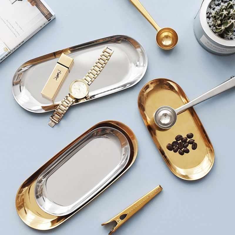 Logam Mewah Penyimpanan Tray Nordic Emas Oval Dihiasi Penyimpanan Buah Piring Kecil Item Perhiasan Display Tray Cermin untuk Dekorasi Rumah
