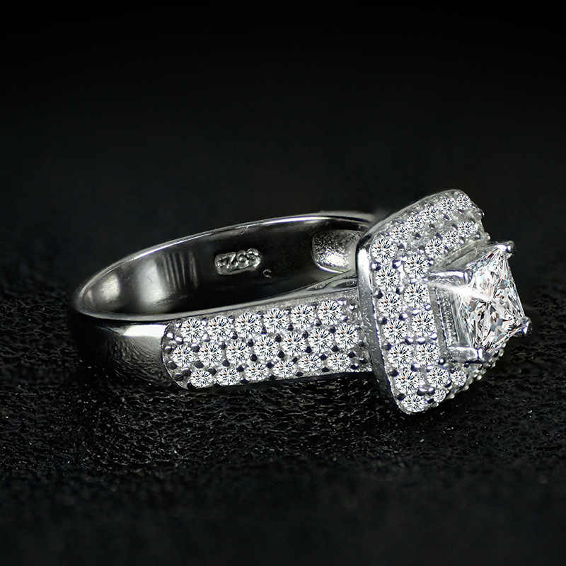 Tamanho 5-10 Jóias de Luxo Da Marca New 925 Sterling Silver Princesa Corte Branco 5A Cubic Zirconia Nupcial Do Partido Anel definido Para As Mulheres Presente