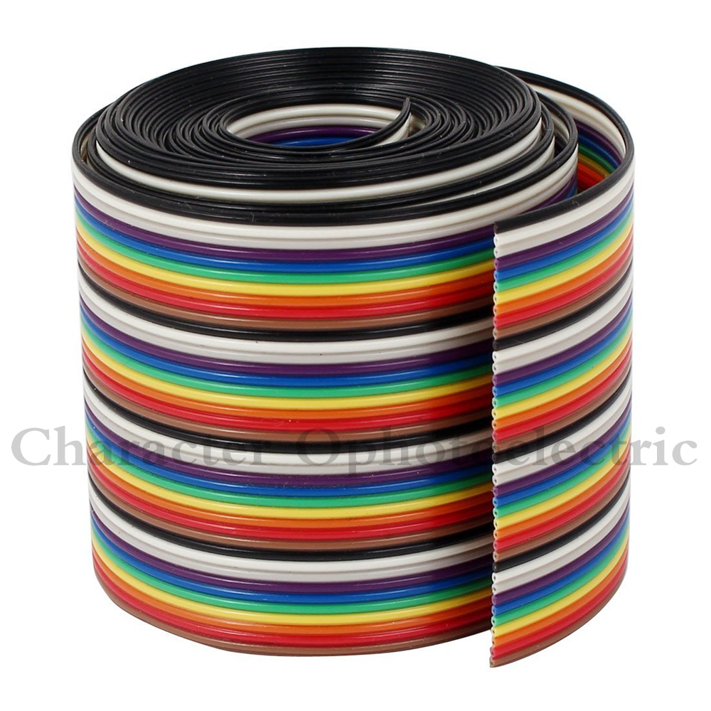 1M 2M 3M 4M 5M 10M 40 Pin Flat Color Rainbow Ribbon IDC Cable Wire Rainbow Cable