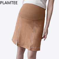 PLAMTEE Leisure Split Maternity Skirt Stripe Brown Pregnanty Pants Skirts Fashion All Match Pregnant Women Clothes