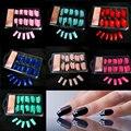 100 Unids/lote Señora de Las Mujeres Venta Caliente Falso Falso de Acrílico Francés Gel Nail Art Media Tips Salon Colorful Clavo Falso Maquillaje Herramientas