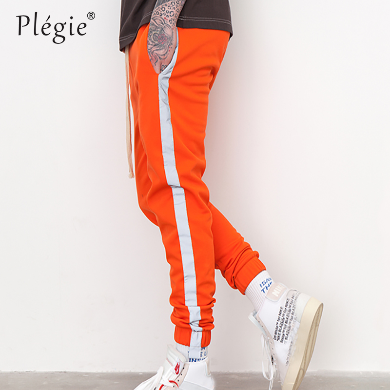 Plegie Striped Reflective Pant Mens 2018 Hip Hop Joggers Sweatpants Trousers Male Street Fashion Mens Trousers Dropshipping