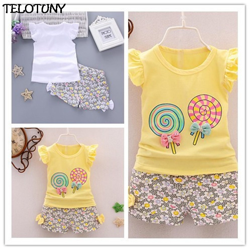 2019 FASHION 2PCS Toddler Kids Baby Girls Outfits Lolly T-shirt Tops+Short Pants Clothes Set ZY30 Dropshopper