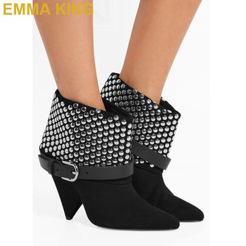 EMMA KING Studded Suede Ankle Boots For Woman Buckle Strap Black Booties Spike High Heels Women Shoes Short Winter Boots 2019