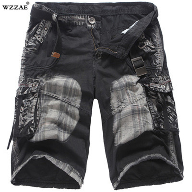 Mens Military Cargo Shorts 2018 New Brand New Army Camouflage Shorts Men Cotton Loose Work Casual Short Pants No Belt 29-38