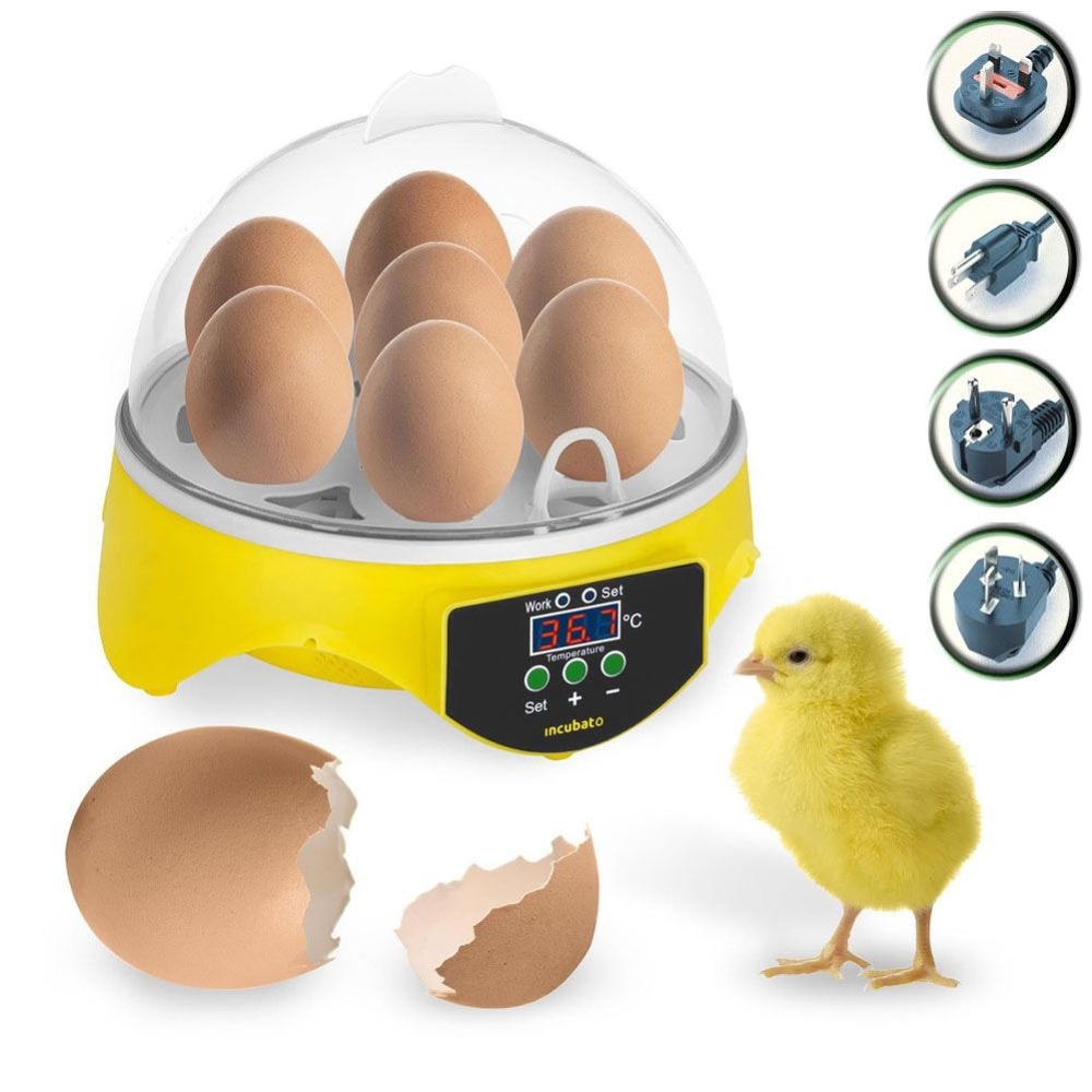 Mini 7 Egg Incubator Automatic Turning Poultry Incubator Digital Temperature 4 Kinds of Plug Hatcher Chicken Duck Bird Pigeon